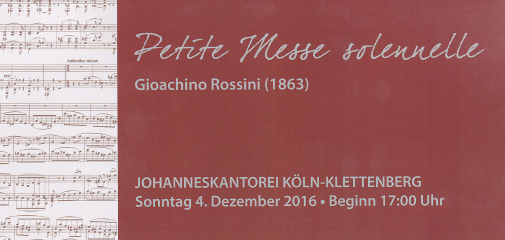 Vorderseite Werbekarte Petite Messe solennelle Konzert am 04.12.2016