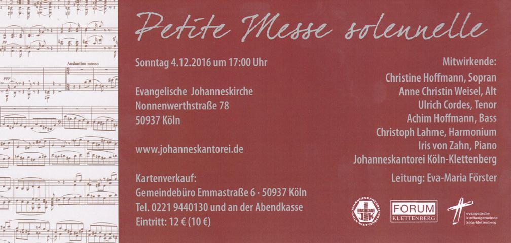 Rückseite Werbekarte Petite Messe solennelle Konzert am 04.12.2016