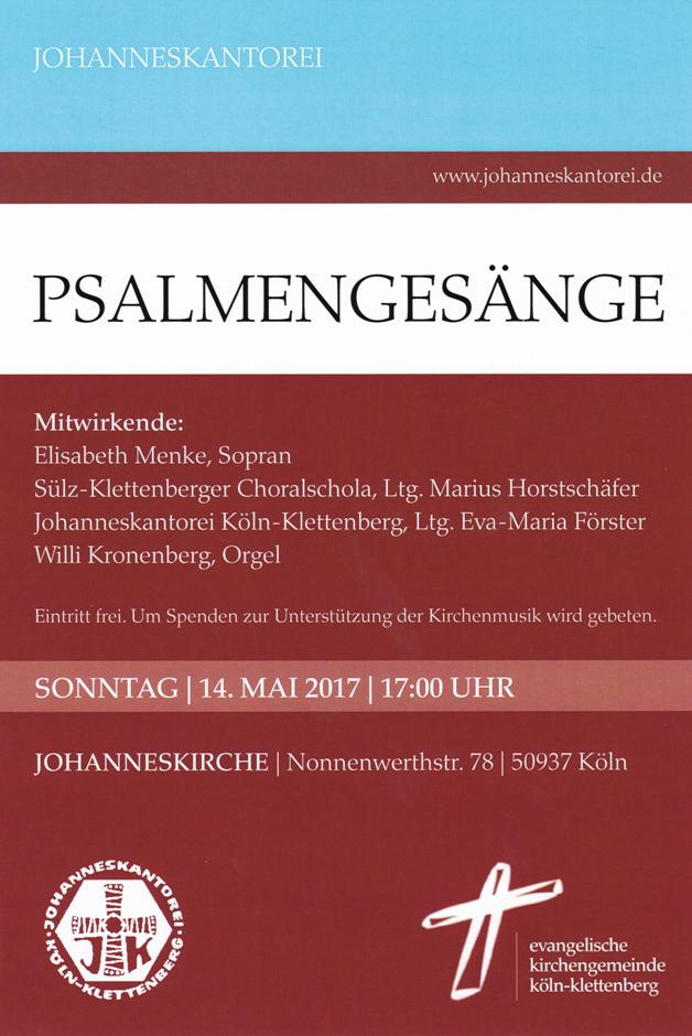 Plakat Psalmengesänge Konzert am 14.05.2017