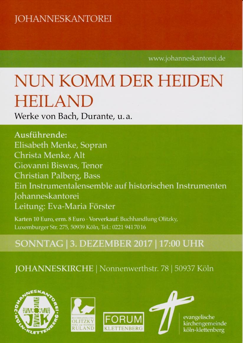 Plakat Nun komm, der Heiden Heiland Konzert vom 03.12.2017