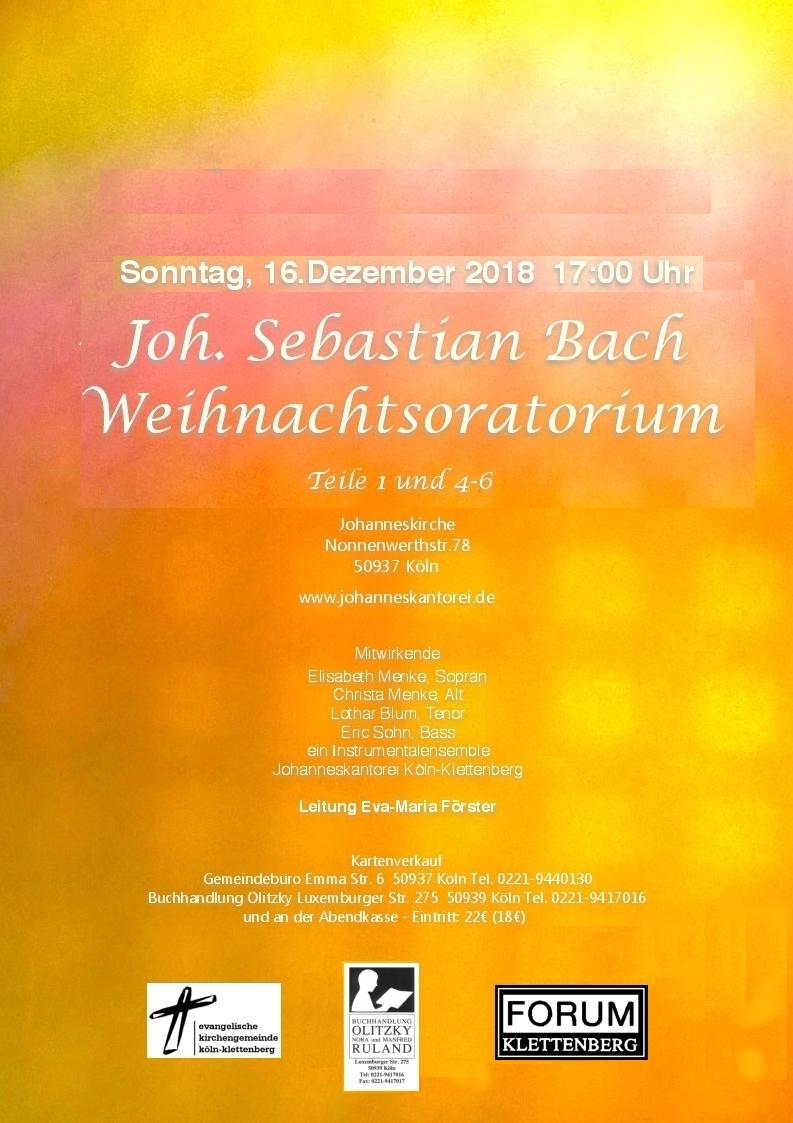 Plakat Weihnachtsoratorium Konzert vom 16.12.2018