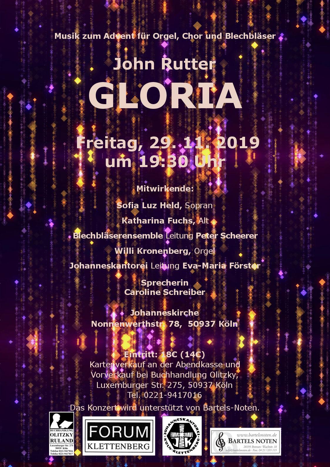 Plakat Gloria Konzert vom 29.11.2919